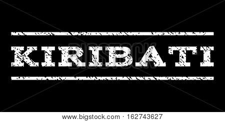 Kiribati watermark stamp. Text caption between horizontal parallel lines with grunge design style. Rubber seal stamp with scratched texture. Vector white color ink imprint on a black background.