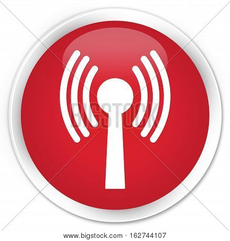 Wlan Network Icon Premium Red Round Button