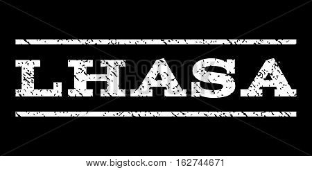 Lhasa watermark stamp. Text tag between horizontal parallel lines with grunge design style. Rubber seal stamp with dirty texture. Vector white color ink imprint on a black background.