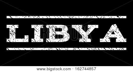 Libya watermark stamp. Text tag between horizontal parallel lines with grunge design style. Rubber seal stamp with unclean texture. Vector white color ink imprint on a black background.