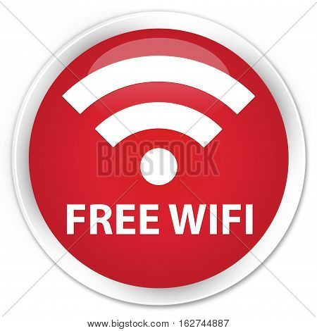 Free Wifi Premium Red Round Button