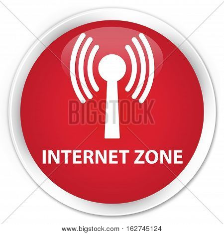 Internet Zone (wlan Network) Premium Red Round Button