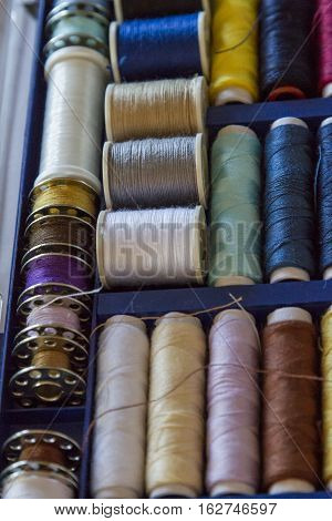 Travel Sewing Kit Including Thread Spools Of Many Different Colours And Thimble. Soft Focus
