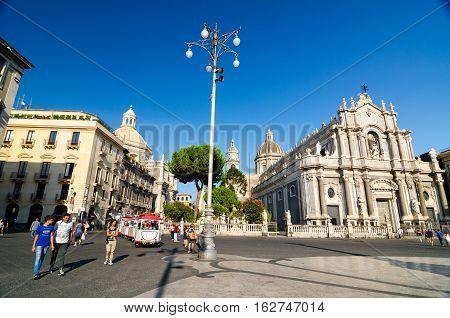 Piazza Duomo And Cathedral Of Santa Agatha. Catania, Sicily, Italy
