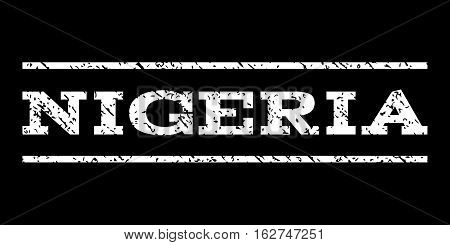 Nigeria watermark stamp. Text caption between horizontal parallel lines with grunge design style. Rubber seal stamp with scratched texture. Vector white color ink imprint on a black background.