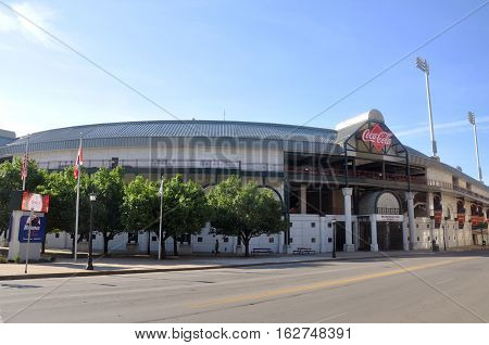 BUFFALO, NY, USA - JULY 22, 2011: Coca-Cola Field in downtown Buffalo. Coca-Cola Field is the home field for Buffalo Bisons baseball team.
