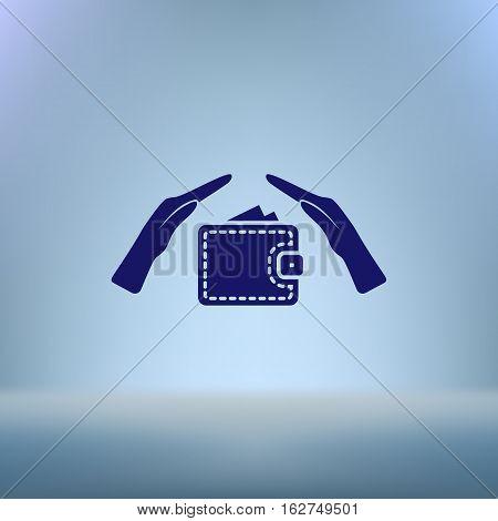 Wallet And Hands Web Icon. Vector Design
