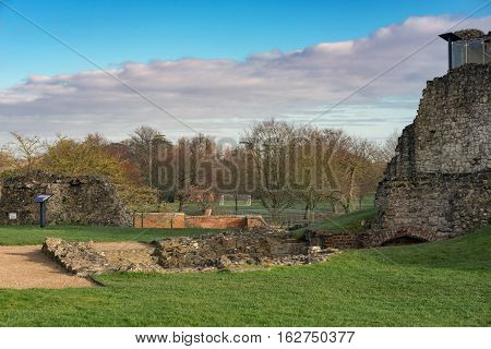 Farnham Castle and park on a sunny mid-winter day.