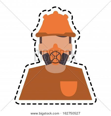 Mask and helmet icon. Industrial security safety and protection theme. Isolated design. Vector illustration