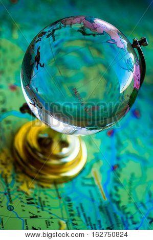 globe on world map background travel dream