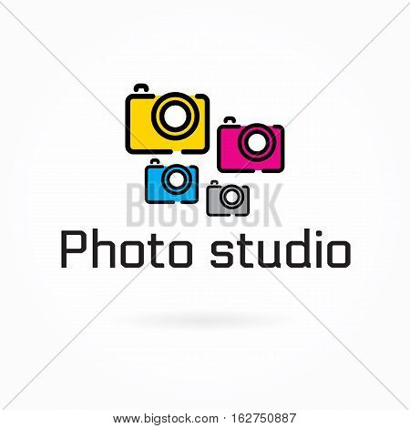 Photo studio logo template, colorful camera flat icon, vector illustration, photography & video cam symbol, editable design element for identity, logotype, prints, web, digital projects. Bright colors: yellow, cyan, magenta