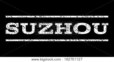 Suzhou watermark stamp. Text caption between horizontal parallel lines with grunge design style. Rubber seal stamp with dust texture. Vector white color ink imprint on a black background.