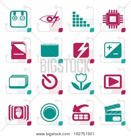Stylized Digital Camera  Performance - Vector Icon Set