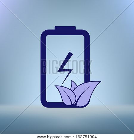 Flat Paper Cut Style Icon Of Eco Friendly Battery