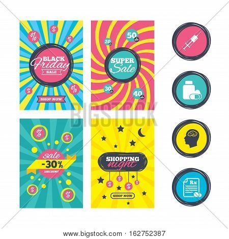 Sale website banner templates. Medicine icons. Medical tablets bottle, head with brain, prescription Rx and syringe signs. Pharmacy or medicine symbol. Ads promotional material. Vector