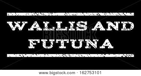 Wallis and Futuna watermark stamp. Text tag between horizontal parallel lines with grunge design style. Rubber seal stamp with dirty texture. Vector white color ink imprint on a black background.
