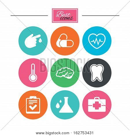 Medicine, healthcare and diagnosis icons. Tooth, pills and doctor case signs. Neurology, blood test symbols. Colorful flat buttons with icons. Vector