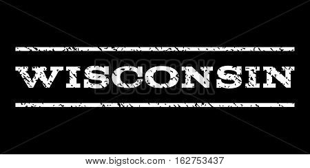 Wisconsin watermark stamp. Text caption between horizontal parallel lines with grunge design style. Rubber seal stamp with unclean texture. Vector white color ink imprint on a black background.