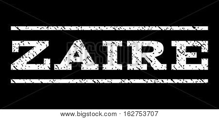 Zaire watermark stamp. Text tag between horizontal parallel lines with grunge design style. Rubber seal stamp with unclean texture. Vector white color ink imprint on a black background.