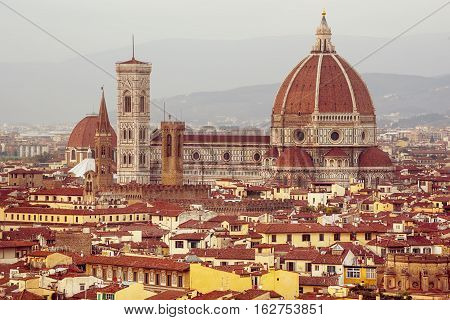 Duomo Santa Maria Del Fiore and Bargello view from Piazzale Michelangelo in Florence, Tuscany, Italy. Outdoor travel european background.