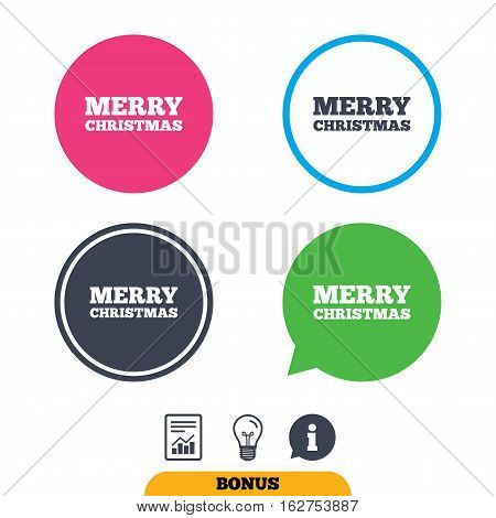Merry christmas text sign icon. Present symbol. Report document, information sign and light bulb icons. Vector