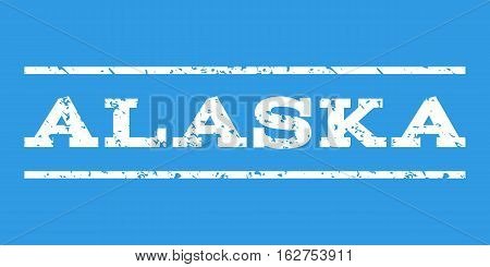 Alaska watermark stamp. Text caption between horizontal parallel lines with grunge design style. Rubber seal stamp with unclean texture. Vector white color ink imprint on a blue background.