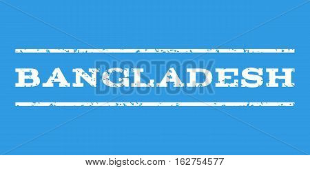 Bangladesh watermark stamp. Text caption between horizontal parallel lines with grunge design style. Rubber seal stamp with unclean texture. Vector white color ink imprint on a blue background.