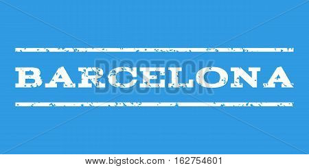 Barcelona watermark stamp. Text caption between horizontal parallel lines with grunge design style. Rubber seal stamp with dirty texture. Vector white color ink imprint on a blue background.