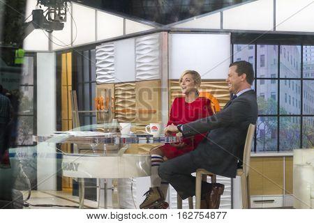 Jane Krakowski (left) And Billy Bush (right) On Today Show On November 6, 2015 In New York City.