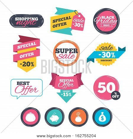 Sale stickers, online shopping. Wallet with cash coin and piggy bank moneybox symbols. Dollar USD currency sign. Website badges. Black friday. Vector
