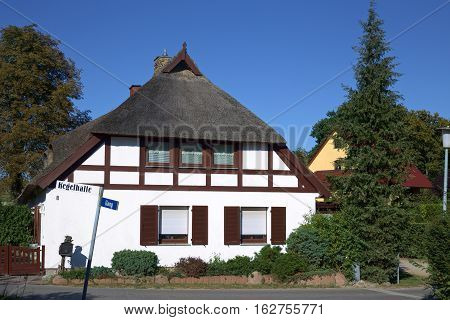 Thatched House In Hanshagen, Mecklenburg-west Pomerania, Germany
