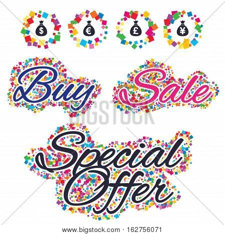 Sale confetti labels and banners. Money bag icons. Dollar, Euro, Pound and Yen symbols. USD, EUR, GBP and JPY currency signs. Special offer sticker. Vector