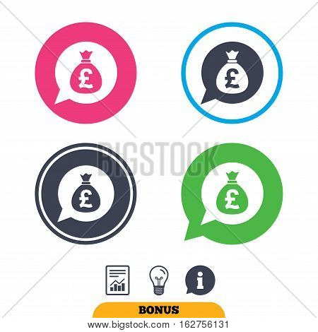 Money bag sign icon. Pound GBP currency speech bubble symbol. Report document, information sign and light bulb icons. Vector