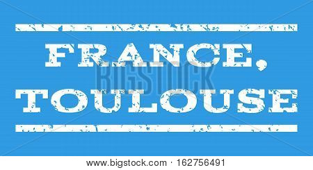 France, Toulouse watermark stamp. Text tag between horizontal parallel lines with grunge design style. Rubber seal stamp with dust texture. Vector white color ink imprint on a blue background.