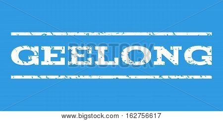 Geelong watermark stamp. Text caption between horizontal parallel lines with grunge design style. Rubber seal stamp with dirty texture. Vector white color ink imprint on a blue background.