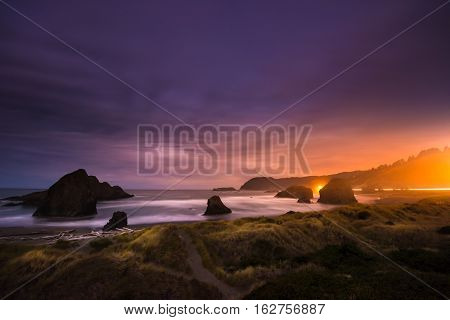 Oregon Coast Landscape At Night