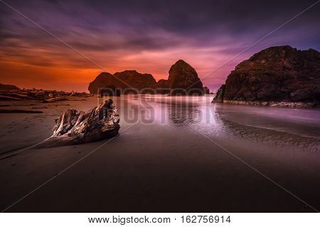 Oregon Coast Beach At Night Near Highway 101