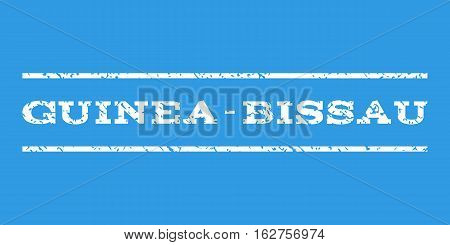 Guinea-Bissau watermark stamp. Text caption between horizontal parallel lines with grunge design style. Rubber seal stamp with unclean texture. Vector white color ink imprint on a blue background.