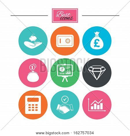 Money, cash and finance icons. Handshake, safe and calculator signs. Chart, safe and jewelry symbols. Colorful flat buttons with icons. Vector
