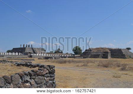 Toltec Warrior statues, pyramids and courtyard among the ruins visible in Tula de Allende, Hidalgo, Mexico