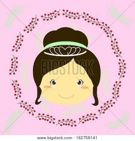 an illustration of a little princess in a berries frame