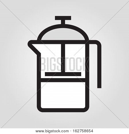 French press icon in trendy flat style isolated on grey background. Kitchen symbol for your design, logo, UI. Vector illustration, EPS10.
