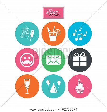Party celebration, birthday icons. Musical notes, air balloon and champagne glass signs. Gift box, fireworks and cocktail symbols. Colorful flat buttons with icons. Vector