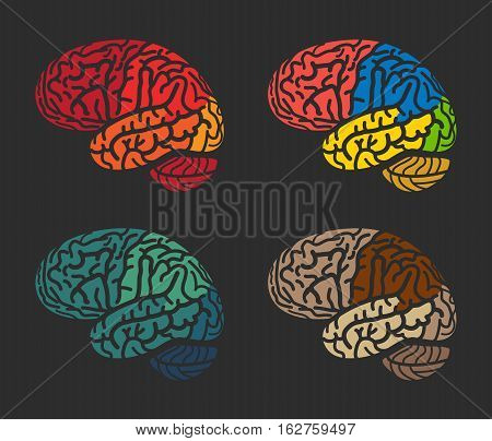 Isolated abstract colorful brain logo collection. Human cerebral hemispheres on black background logotype set