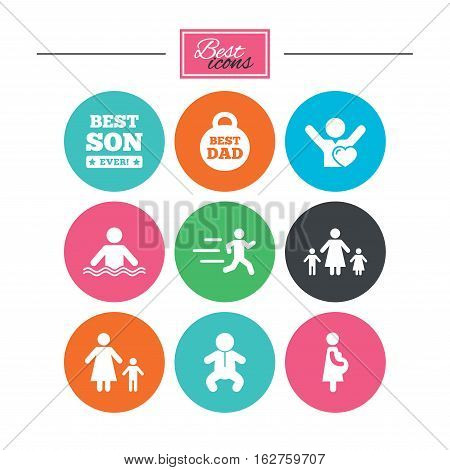 People, family icons. Swimming, baby and pregnant woman signs. Best dad, runner and fan symbols. Colorful flat buttons with icons. Vector