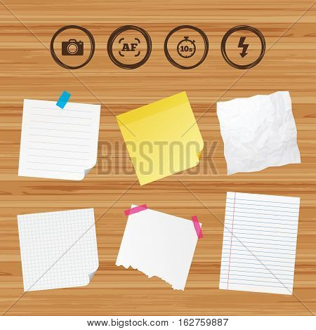 Business paper banners with notes. Photo camera icon. Flash light and autofocus AF symbols. Stopwatch timer 10 seconds sign. Sticky colorful tape. Vector