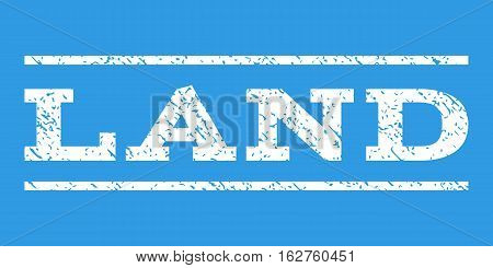 Land watermark stamp. Text tag between horizontal parallel lines with grunge design style. Rubber seal stamp with unclean texture. Vector white color ink imprint on a blue background.