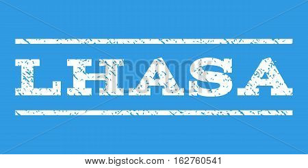 Lhasa watermark stamp. Text caption between horizontal parallel lines with grunge design style. Rubber seal stamp with dust texture. Vector white color ink imprint on a blue background.
