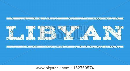 Libyan watermark stamp. Text caption between horizontal parallel lines with grunge design style. Rubber seal stamp with unclean texture. Vector white color ink imprint on a blue background.