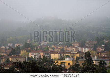 San Luca during a foggy day, Bologna, Italy